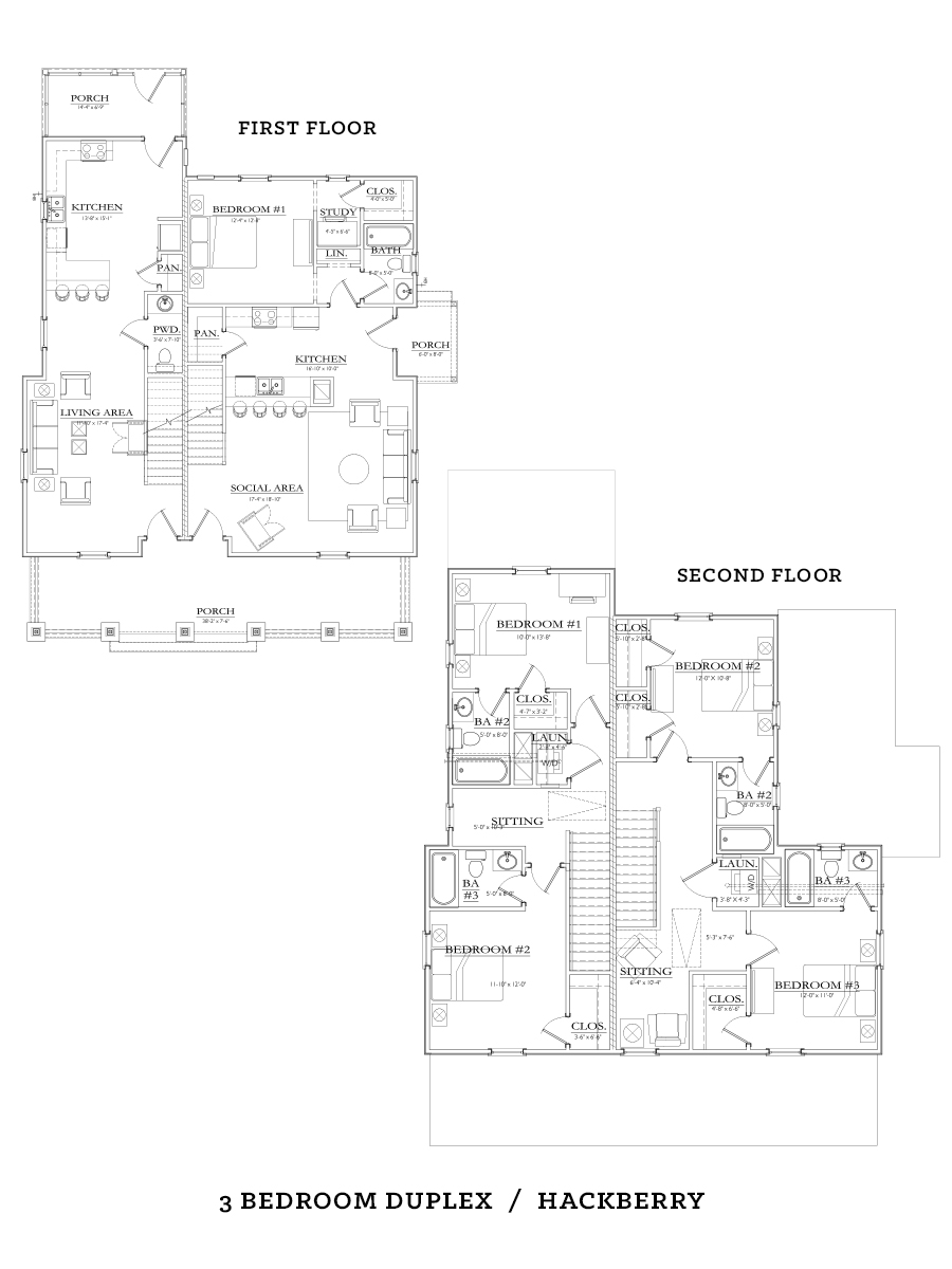 3 bedroom 2 bath duplex floor plans for Duplex floor plans 3 bedroom